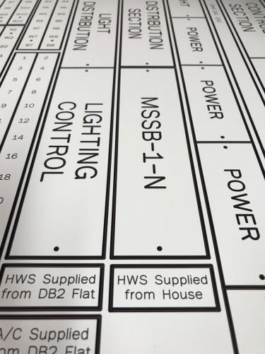Custom electrical labels engraved by Infinity Engraving